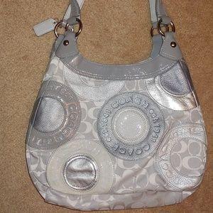 Coach Silver/Gray Logo Shoulder Bag